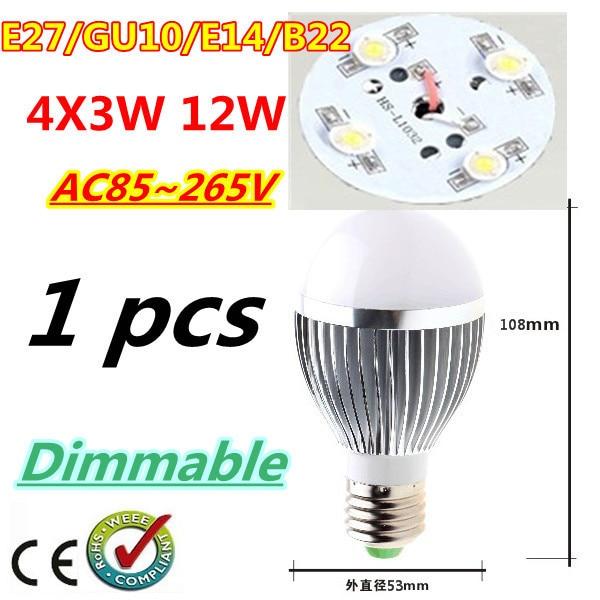 1pcs/lot Retail Dimmable Bubble Ball Bulb AC85-265V 12W E14 E27 B22 GU10 High power Globe light LED Light Bulbs Free shipping