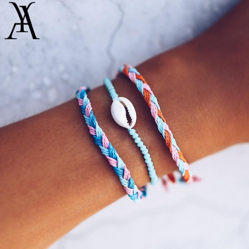 3PCS Boho Cowrie Shell Handmade String Bracelet Knotted Woven Friendship Bracelets for Women Macrame Bracelet Set Beach Jewelry