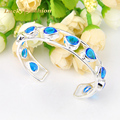 Unique Holiday Gift Fire Sparking Drop Blue Created Topaz Siver Plated Open Bangles Russia Australia Wedding Bracelet Bangles