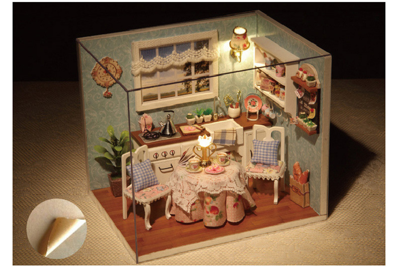 DIY Wooden Doll House Toy Dollhouse Miniature Assemble Kit With LED Furnitures Handcraft Miniature Dollhouse Happy Kitchen Model (3)