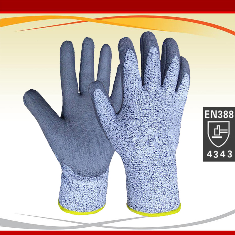 2019 Billigste UHMWPE Anti-kuttede hansker. Klippmotstandshansker med PU på håndflaten. Kortsikre sikkerhetshansker med sertifikat