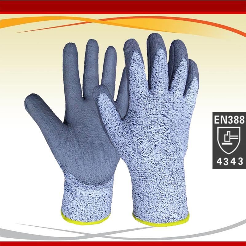 2019 Goedkoopste UHMWPE Anti-cut handschoenen Snijbestendige handschoenen met PU op de handpalm Snijbestendige veiligheidshandschoenen met certificaat