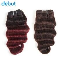Debut Brazilian Human Hair Cheap Nature New Body Flip 10 20 Inch T1b/99J Ombre Color 2/3 Bundles Human Hair For Black Women