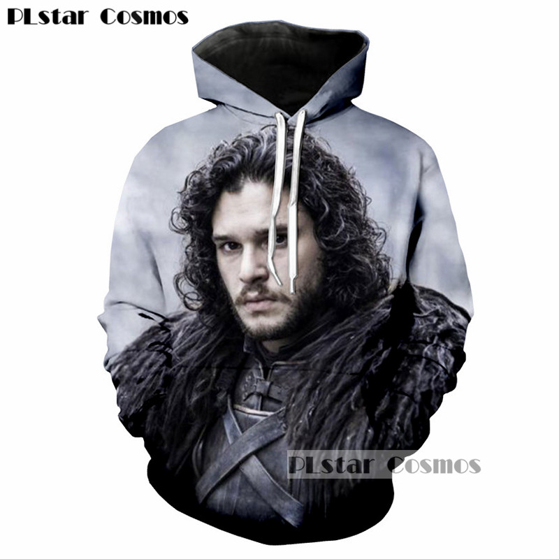 PLstar Cosmos Game of Thrones Jon Snow King 3D Character Printed Men/Women Hoodies Casual Mans hoodie Cool Hipster Sweatshirt