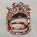 Choucong Ouro Rosa 925 de Prata Esterlina anel de Três-pedra 8ct simulado diamante Cz Wedding Band Anel de Noivado para as mulheres
