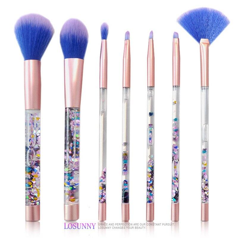 7pcs/Sets New Makeup Brush 7 Quicksand Handle Makeup Brush Suit Blue Wool Hollow Core Handle Make-up Tols Factory Direct тушь make up factory make up factory ma120lwhdr04