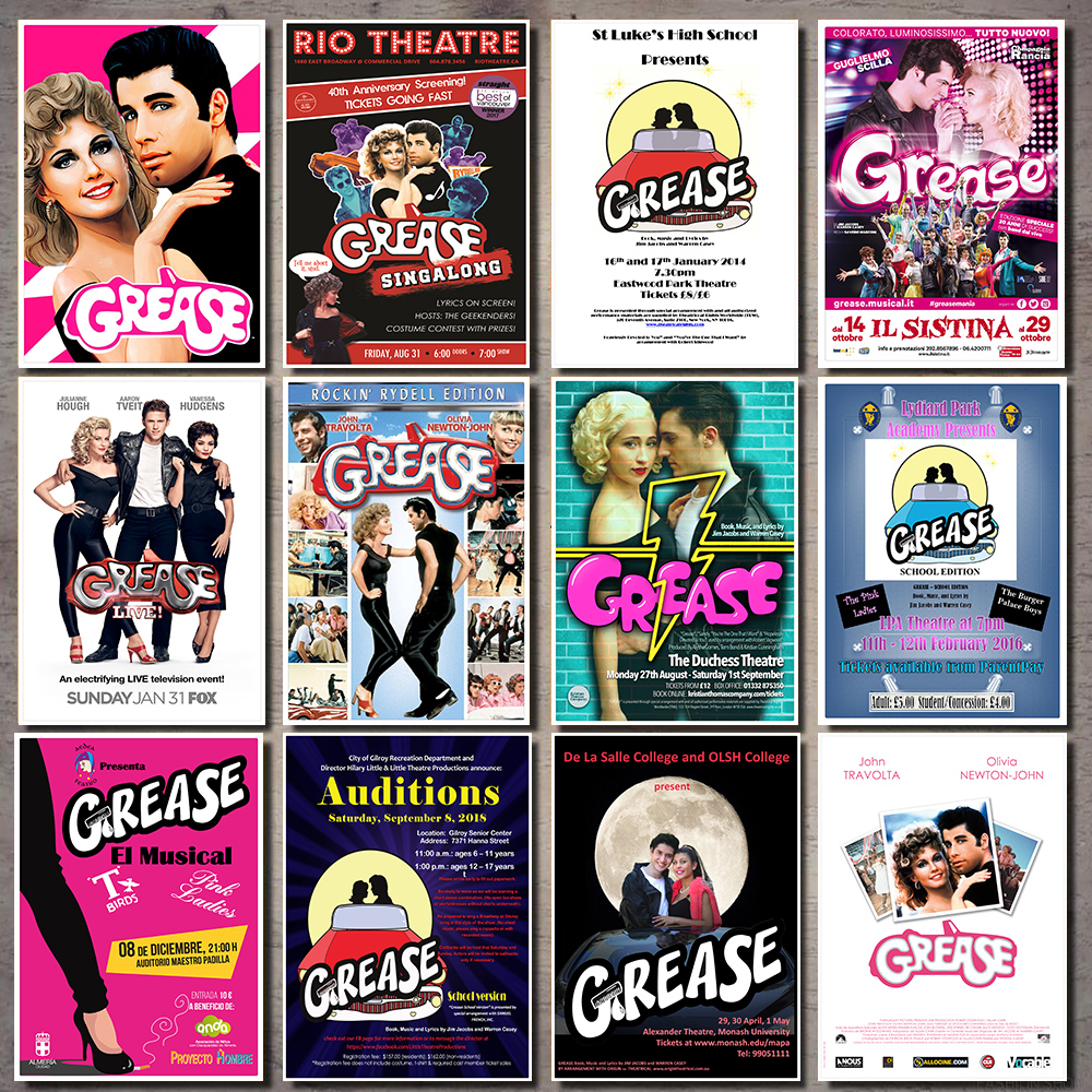 grease movie poster 1978 white Kraft Paper Poster Office Gift Room Dining Home Decor wall sticker Design