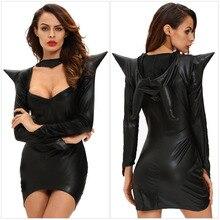 Взрослых Для женщин Sexy Хэллоуин ведьмы Maleficent костюм черный Необычные платья дамы дьявол Косплэй Порно Игры короткий наряд для Обувь для девочек