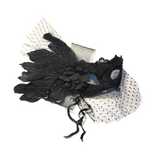 Princess Ladies Ball Mask Black Swan Lace Feather Flower Halloween