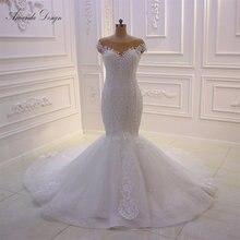 Amanda Design szata wieczór czapka rękaw koronki Appliqued błyszczące syrenka suknia ślubna