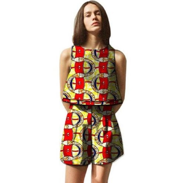 ac9dcd6a907 US $30.09 30% OFF|African women Sleeveless crop tops and short pants set  fashion dashiki africa print casual ladies midriff top+shorts -in Women's  ...