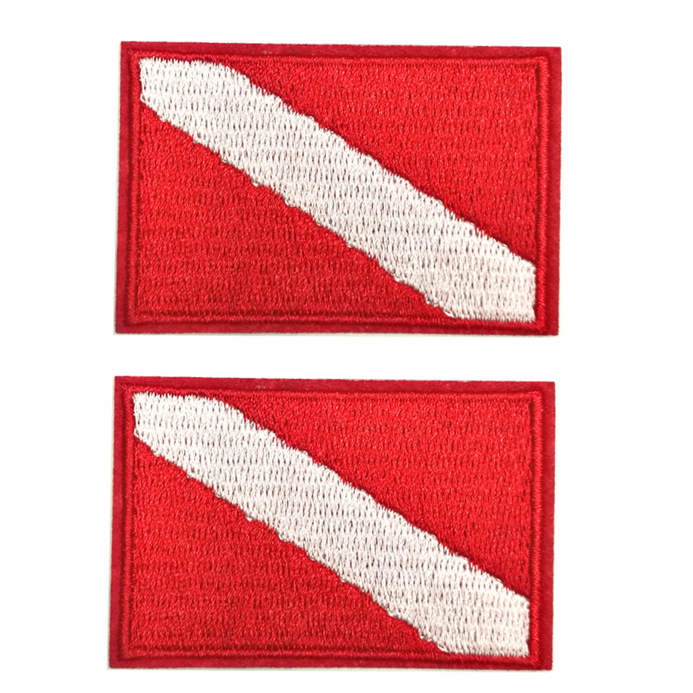 2PC Scuba Diving Flag Patch Dive Diver  Patches Iron Sew On Embroidered Embroidery Biker Backpack Badge Diving Snorkeling Gift