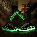 Super Barato Nueva Moda Chaussure Homme Zapatos Ocasionales Unisex de Alta Calidad Amante Fluorescentes Iluminan Zapatos Transpirables Hombres 031