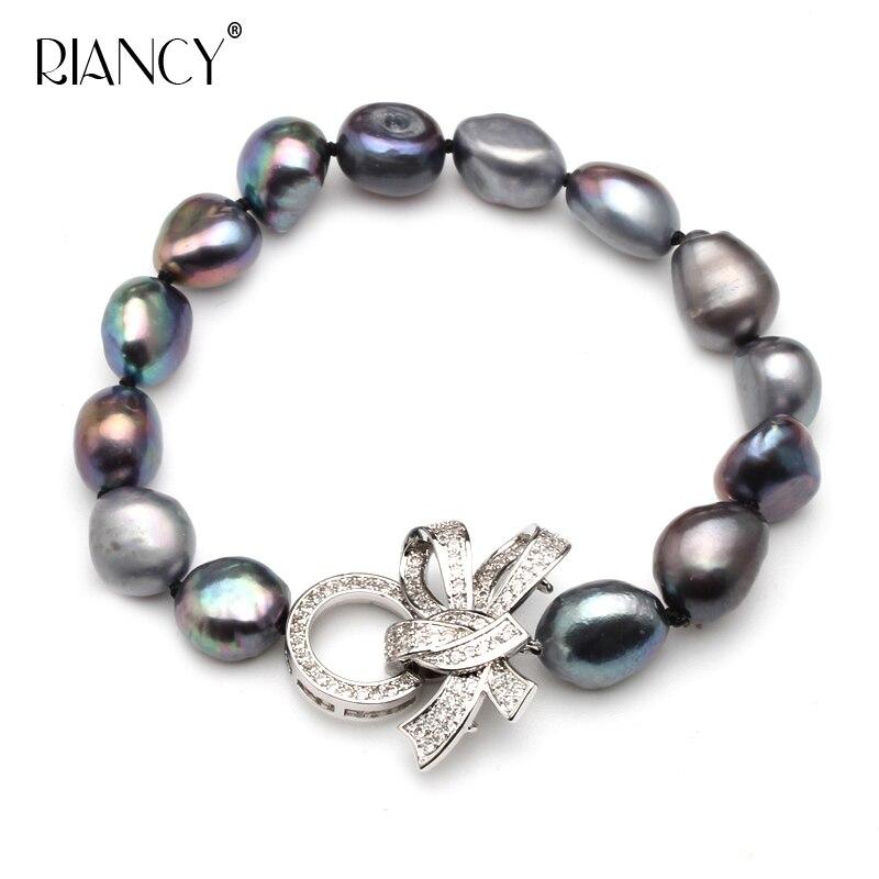 pearl jewelry bracelets baroque pearl bracelets fine jewlery black freshwater pearl gift for women