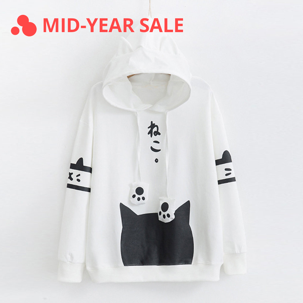Harajuku Neko Cat Kawaii Hoodie Lolita Junior Cute Ear Hoody Pullover Student Girls Spring School Clothes Anime Lovely Paws Tops Накомарник