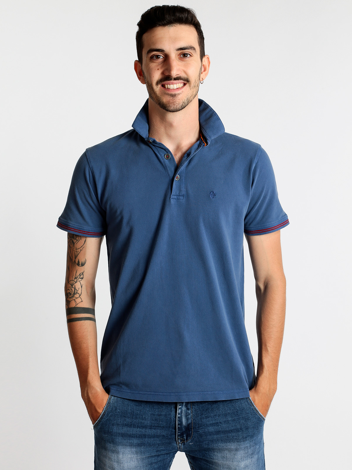 COVERI MOVING blue Men's Summer Casual Short Sleeve   Polo   Shirt