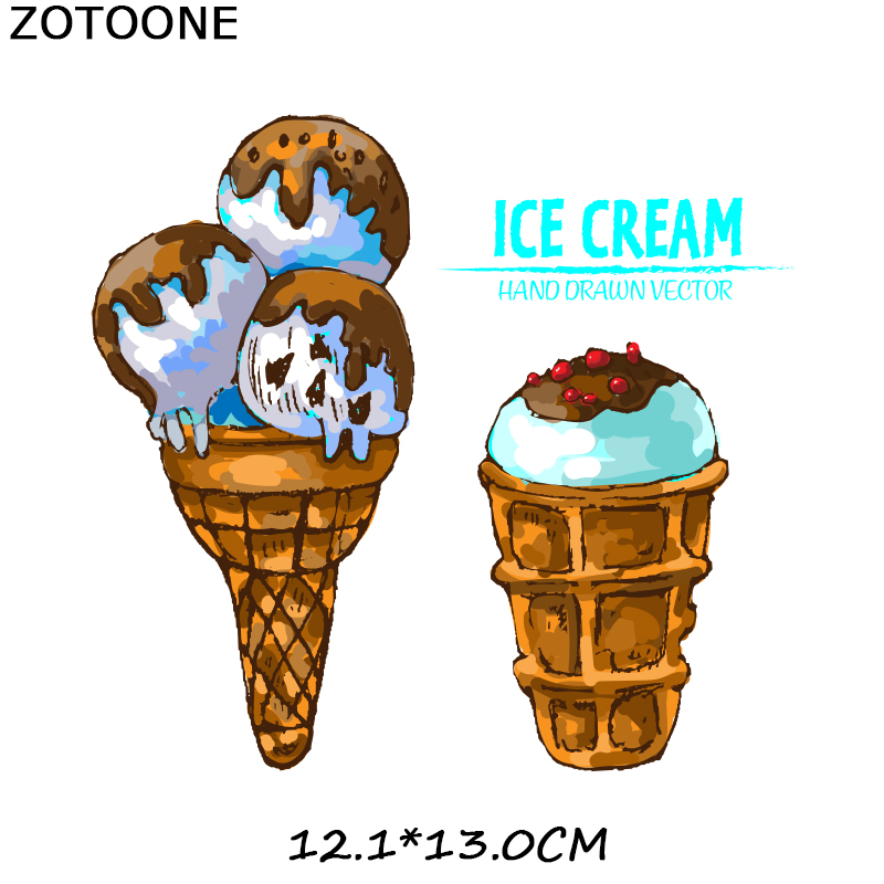 ZOTOONE Ice Cream Patches Skull Animal Cat Stickers Iron on Transfers for Clothes T shirt Accessory Appliques Heat Transfer F1 in Patches from Home Garden