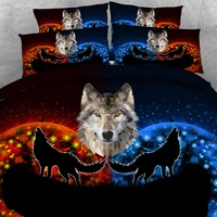 Goldeny 4 Parts Per Set Fantasy Wolf and Moon 3d animal bed linen 3d bed cover set