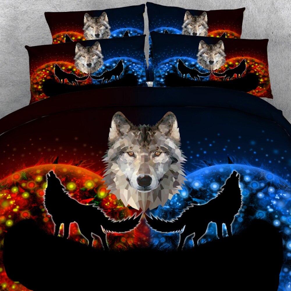 Golnier 4 pièces par ensemble fantastique loup et lune 3d animal linge de lit 3d ensemble de couverture de lit