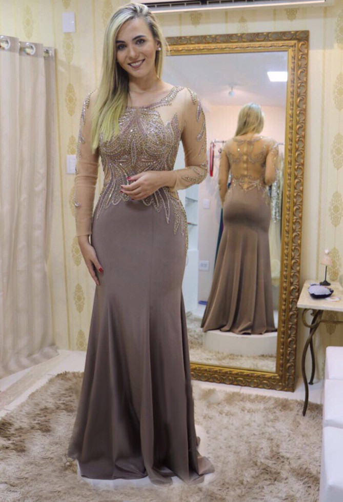 Gray Mermaid   Prom     Dress   Chiffon Beading Mother Of The Brides   Dress   Plus Size Elegant Evening Gown Long Sleeve выпускное платье