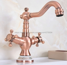Modern Style Double Handle Kitchen Faucet Tap Antique Red Copper Hot and Cold Water 360 Degree Rotating Nnf622