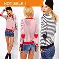 Primavera Marca de Moda Remendo Corações Listrado Malhas do Pulôver Das Senhoras Camisola Vestido De Malha De Crochê Pullover Mulheres Blusas