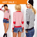 Spring Fashion Brand Love Hearts Patch Striped Knitwear Pullover Ladies Sweater Dress Knitted Crochet Pullover Women Sweaters