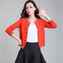 2016 Spring Autumn Cardigan Short Coat Female Women Long Sleeve Screw-Thread Buttons Knitted Sweater S/M/L/XL/XXL/XXXL