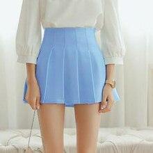 summer American School Style Fashion Women elegant half Pleated mini font b Skirts b font high