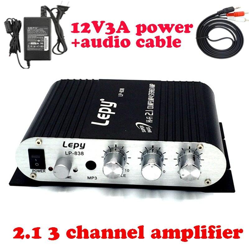 Lepy LP-838 con adaptador de energía y cable AV 2.1 3 canales mini amplificadores estéreo HiFi CD MP3 PC energía del coche subwoofer amplificador