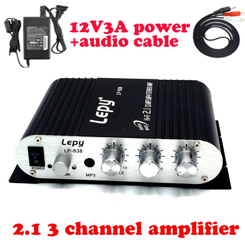 Lepy LP-838 with power adapter&av cable 2.1 3 channels mini stereo amplifiers HIFI CD MP3 PC car power subwoofer amplificador
