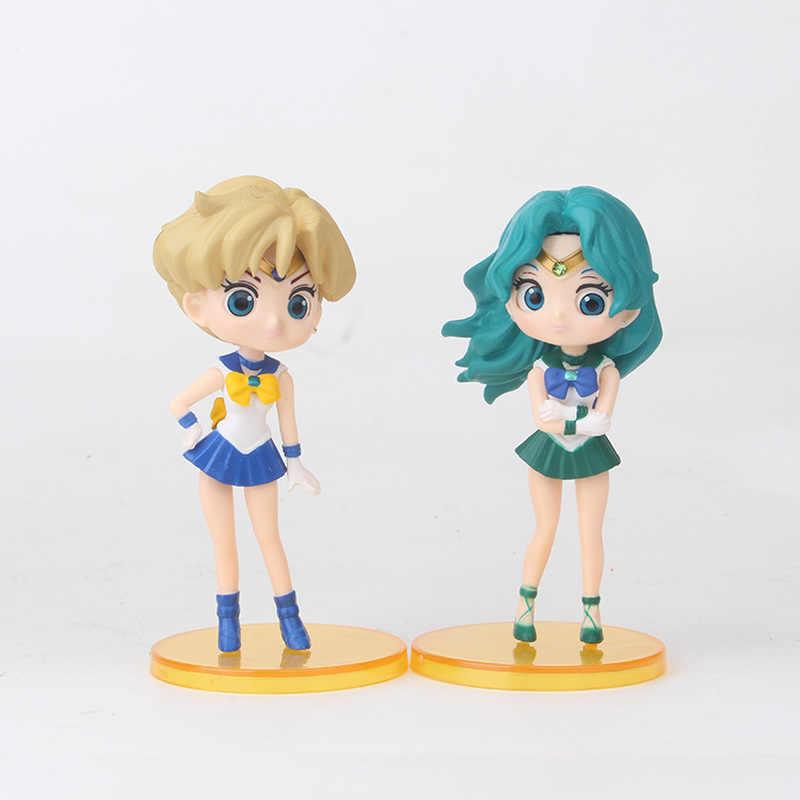 Nova 6 pçs/set Qposket SAILOR MOON Beauty Coleção de Vinil Boneca Figura Brinquedos para Meninas Presentes de Aniversário de Natal