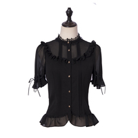 MANLUYUNXIAO Black Shirt Lolita Cute Short Sleeved Woman Original Design 2019 Gothic Lolita Sweet Lolita Lolita Dress Black