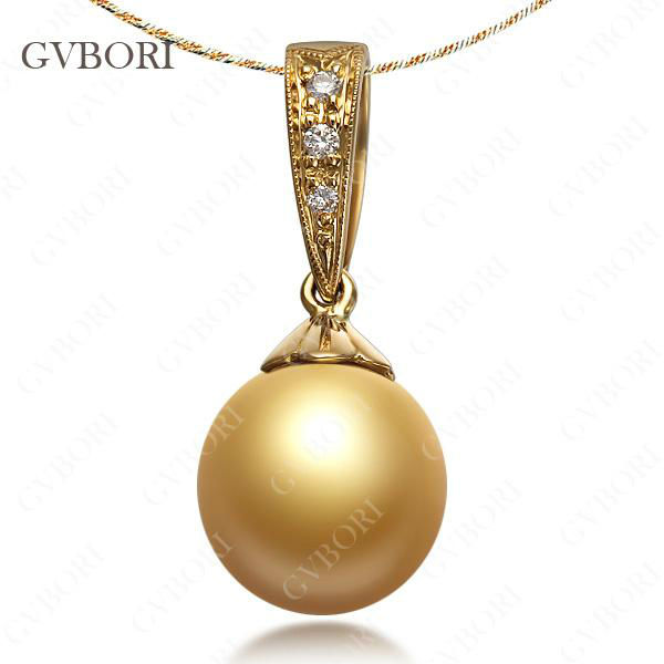 Gvbori 9 10mm south sea natural gold pearl pendant with 18k gold pearl pendant 84 aloadofball Choice Image