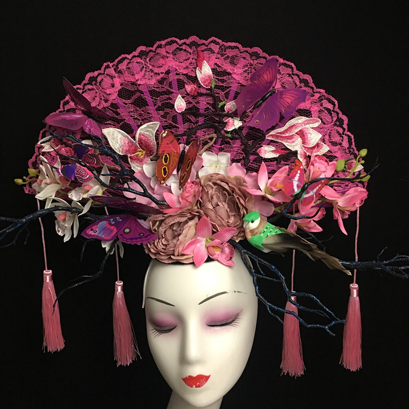 The new 2018 hand made Chinese wind purple creative tire shape Fan tassel headdress