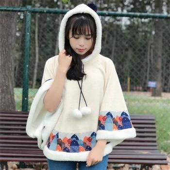 Japanese Harajuku Vintage Lolita Ethnic Print Manteaux Femme Chaqueta Hooded Cloak Thick Warm Fleece Women Winter Coat Jacket