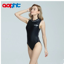 New Spandex One Piece Professional Female Swimwear Sports Swimsuit Training Competition Sexy Black Tight Bodysuit Bathing Suit
