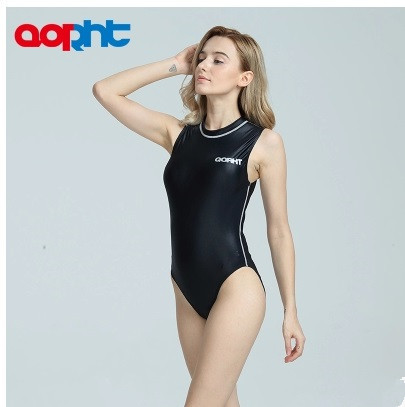 396073033e New Spandex One Piece Professional Female Swimwear Sports Swimsuit Training  Competition Sexy Black Tight Bodysuit Bathing Suit