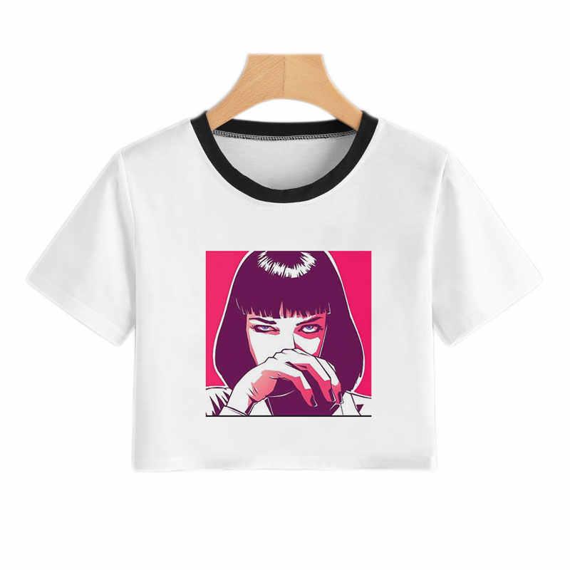 Màu hồng Cô Gái Nhật Bản Grunge In Áo Thun Harajuku Kawaii Crop Top Phụ Nữ 2019 Mùa Hè Ngắn Tay Áo Cổ Điển 90 s Tees Đồ Họa phụ nữ