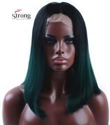StrongBeauty синтетический синтетические волосы на кружеве парик обратно в зеленый бирюзовый Бирюзовый бесклеевой Ombre Тон Цвет короткий Боб
