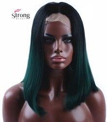 StrongBeauty синтетический кружевной парик спереди обратно в зеленый бирюзовый Бирюзовый бесклеевый Омбре оттенок короткие волосы парики термо...