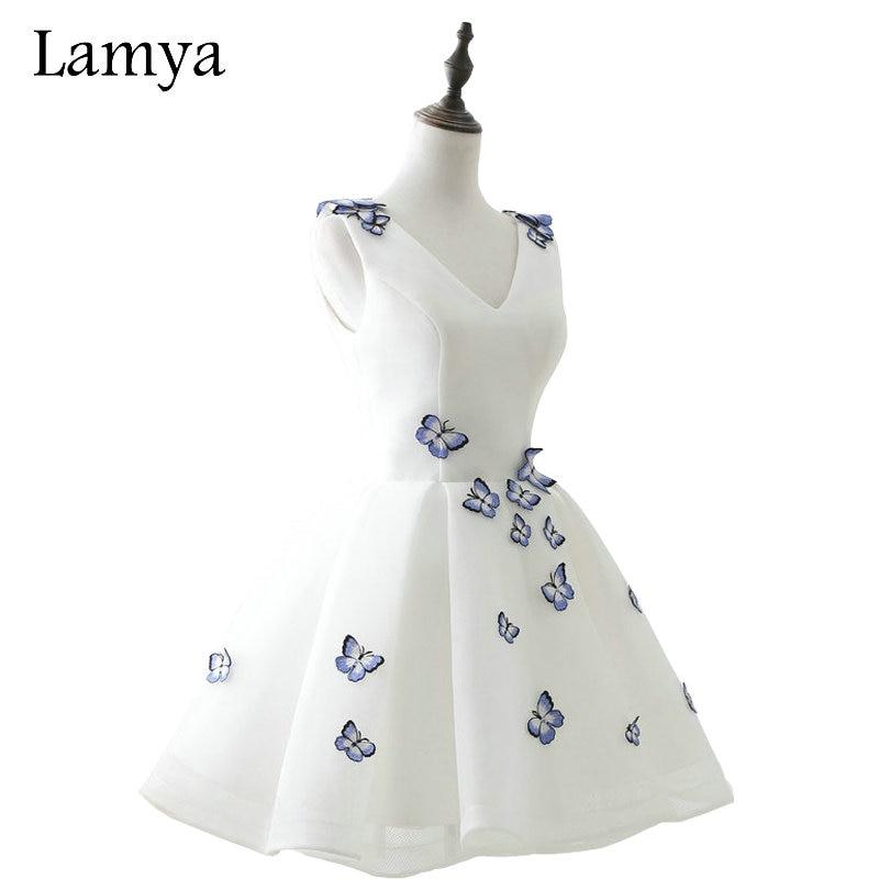 LAMYA Cheap Elegant Embroidery V Neck Prom Dresses 2019 Short  Party Formal Evening Gown Real Photo Vestido De Festa