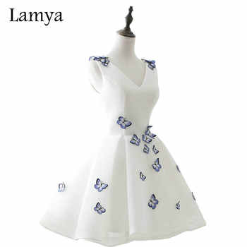 LAMYA Cheap Elegant Embroidery V Neck Prom Dresses 2019 Short Party Formal Evening Gown Real Photo Vestido De Festa - DISCOUNT ITEM  50% OFF Weddings & Events