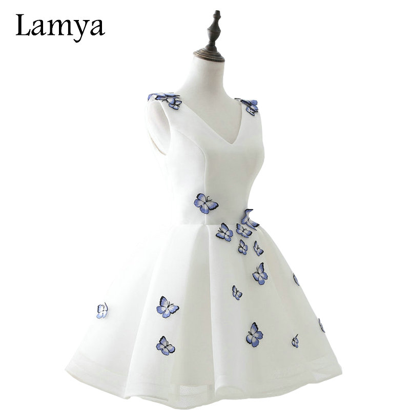 LAMYA Cheap Elegant Embroidery V Neck   Prom     Dresses   2019 Short Party Formal Evening Gown Real Photo Vestido De Festa