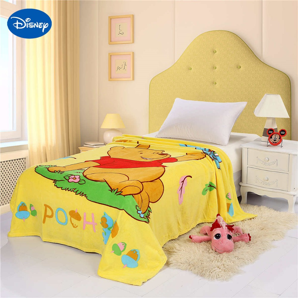 Disney Winnie the Pooh Printed Blanket  150*200CM Children's Bedroom Decor Polyester Cartoon Characte Yellow Coral Fleece Fabric winnie the pooh the house at pooh corner