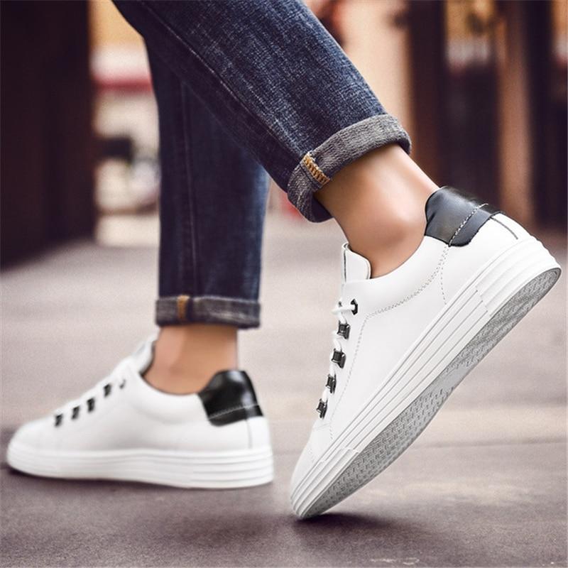 Bout Aa11553 Rond Souple Mode Hommes Non Multi Lace Cuir Plat Up En Chaussures Haute Qualité Casual blanc slip Blanc j5ALq34R
