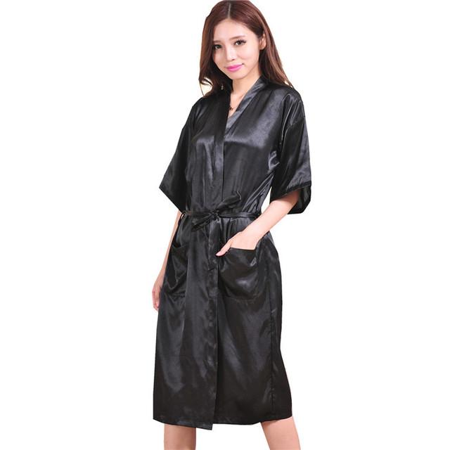 Verão mulheres de seda Rayon Robe vestido camisola Sleepwear Sexy Kimono Yukata roupão S M L XL XXL XXXL NB025