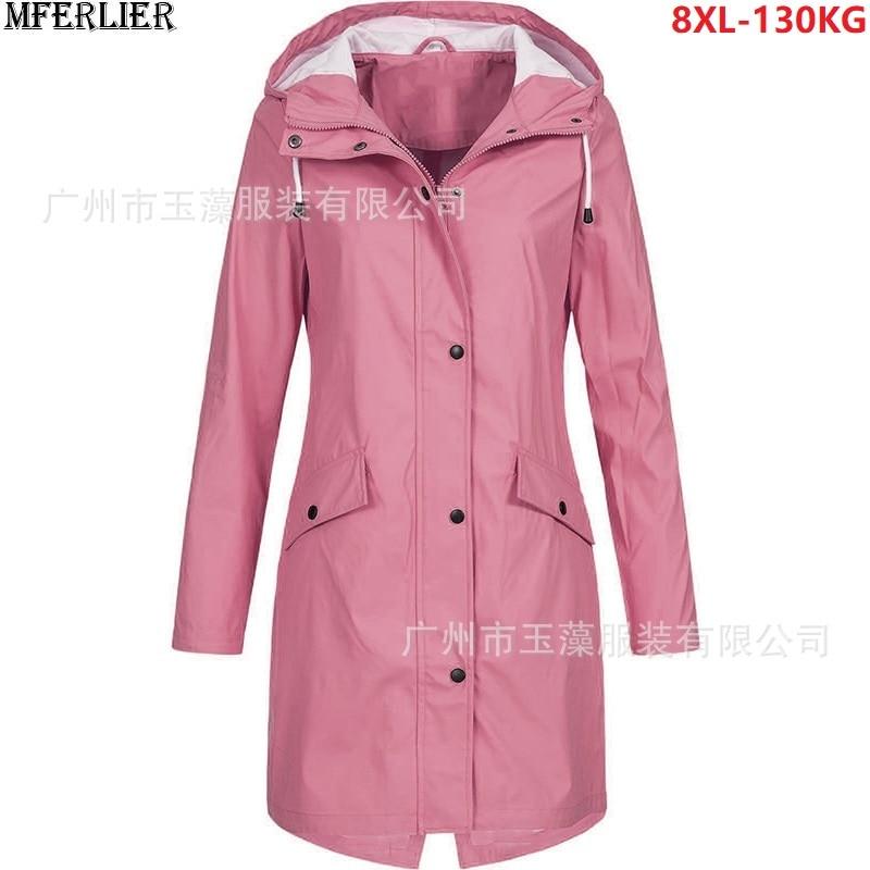 Большие размеры 4XL 5XL Женские ветровки с капюшоном из двери куртки осенние свободные ветровки повседневные футболки женские пальто оверсай