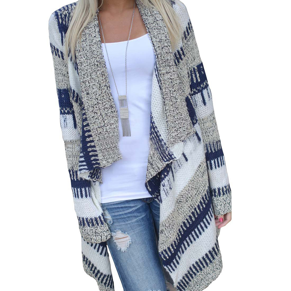Women Full Sleeve Hand Knitted Striped Cardigan Sweater Fashion V ...