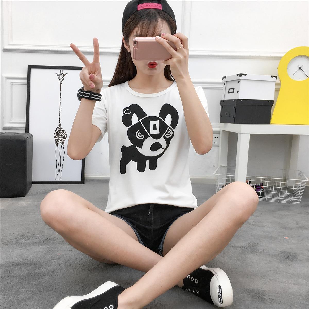 Лечение с рисунком собачки и котика Мопс печати с коротким рукавом забавная футболка чудо-женщина Готический укороченные feminino лошадь Kawaii EXO...